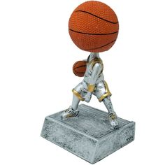 Antique pewter color resin with gold colored highlights Includes a personalized engraving plate with 3 lines of engraving. 30 characters/spaces per line. Basketball Trophies, Pewter Color, Colored Highlights, Antique Pewter, Bobble Head, Resin, Plate, Characters, Spaces