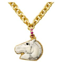 Howlite Onyx Sapphire Gold Horse Head Pendant | From a unique collection of vintage necklace enhancers at https://www.1stdibs.com/jewelry/necklaces/necklace-enhancers/