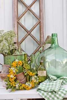 VIBEKE DESIGN: God sommer green canning jars..green scale, green truck and yellow florals and wicker panel