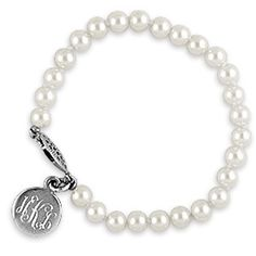 6 mm Glass Pearl Bracelet with Round Silver Charm
