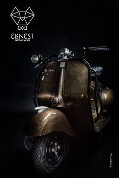 "1955 - 125 Vespa Acma - ""Golden Wasp"" By Ernest Motocycles ReMade in France with Artists : /Jeweller : ""La K"" /Leather : ""Proust"" /Paint : ""PLI"" /Engine : ""Rival"" /Photographer : ""YPV Images"" /Project : ""Ernest Motocycles"" Scooter Custom, Moped Scooter, Vespa Lambretta, Vintage Italy, Motor Scooters, Mopeds, Vintage Bikes, Wasp, Biking"