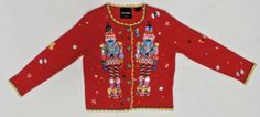 Michael-Simon-Nutcracker-Sweater-Christmas-Red-Sparkling-Beads-Sz-S-Cardigan