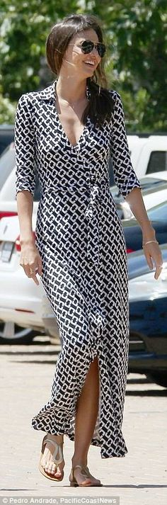 #MirandaKerr wearing Dvf Abigail Maxi Dress. You can get it here: http://www.shopstyle.com/action/loadRetailerProductPage?id=469255637&pid=uid404-22704898-11 for $598