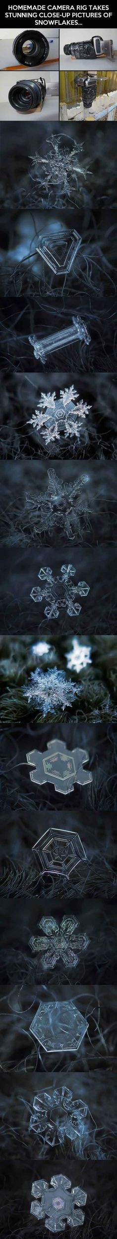 Homemade macro lens takes snowflake closeups. Cool.
