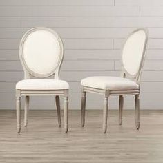 Charlton Home Chestertown Linen Upholstered Upholstered King Louis Back Side Chair Color: Light Beige/Rustic Gray Solid Wood Dining Chairs, Upholstered Dining Chairs, Dining Chair Set, Dining Room Chairs, Side Chairs, Dining Rooms, Kitchen Dining, Dining Table, Kitchen Nook