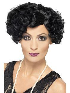 Flirty Flapper Black Short Curly Wig Charleston Ladies Fancy Dress New Gatsby Costume, Flapper Costume, Costume Wigs, 20s Flapper, Fancy Dress Wigs, Ladies Fancy Dress, Short Curly Wigs, Short Wavy, Halloween Wigs