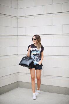 Tee: Thrasher (similar) | Shorts: Similar | Shoes: Nike Roshe | Sunnies: Ray-Ban | Bag:...