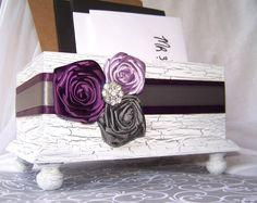 Wedding Card BOX - Wooden White Shabby Chic Box,  Purple and Gray, Custom colors available. $55.00, via Etsy.