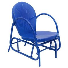 funky blue retro glider chair
