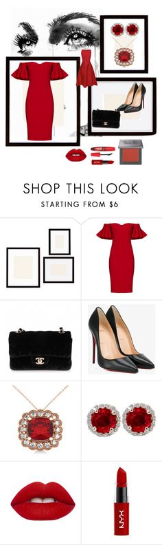 """Ravishing Ruby"" by kayegarten ❤ liked on Polyvore featuring Pottery Barn, Badgley Mischka, Chanel, Christian Louboutin, Allurez, Lime Crime, NYX and Urban Decay"