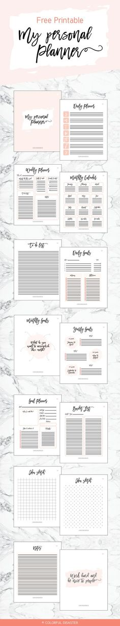 Free Printable Personal Planner from Colorful Disaster {newsletter subscription required}