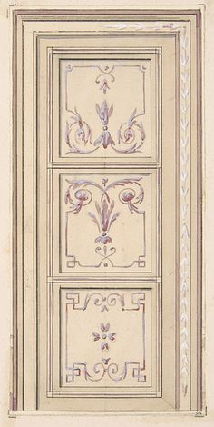 Design for a ceiling Jules-Edmond-Charles Lachaise, French Interior Paint, Interior Decorating, Interior Design, Stencil, Motif Arabesque, Painted Doors, Paneling Painted, Metal Clock, Decorative Panels