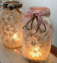 Add Romance To Your Space With DIY Doily Mason Jar Luminaries