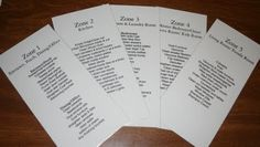 Fly Lady Zones: not really a printable....she just lists them. handy idea, though