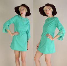 vintage 60s mini dress Bell Sleeve Mint Green
