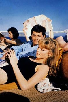 Françoise Dorléac (and Jean-Claude Brialy, who looks a bit like Charlie Sheen; but then, who gives a damn about him when you've got the gorgeous Francoise to gaze upon! Catherine Deneuve, French Icons, French New Wave, French Movies, Movie Shots, French Actress, Brigitte Bardot, Film Stills, Beautiful Actresses