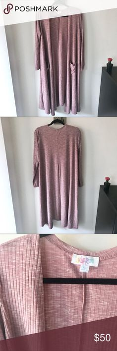 NWOT Lularoe Sarah Duster Cardigan in Blush Pink Brand new without tags Sarah Duster Cardigan from Lularoe. Blush pink / dusty rose color with a ribbed texture. Size XL. This sarah doesn't have much stretch to it. Perfect for Valentines! LuLaRoe Sweaters Cardigans