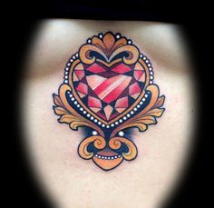 Gem heart by tattoo artist Myra Brodsky