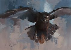 """Daily Paintworks - """"Flying Raven"""" - Original Fine Art for Sale - © Thorgrimur Andri Einarsson"""