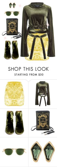 """Yellow Skirt and Green Top"" by dobesht ❤ liked on Polyvore featuring Y/Project, Aquazzura, Garrett Leight and Robert Lee Morris"