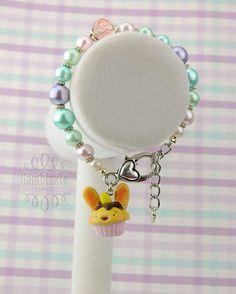 easter bunny cupcake bracelet easter bracelet by GambizzleJewels