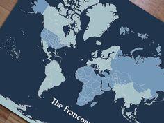 Travel world poster worldmap details 16x20 inches custom sizes world map mounted on foam board blues blank map16x20 inches world travel gumiabroncs Choice Image