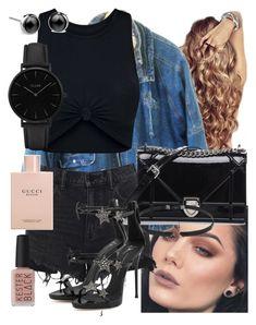 """P857| Top| Crop| Black|| Shorts| Denim| Black|| Jacket| Denim|| Blue| Curly| Shoulder bag| Black|| Choker| Black|| Silver| Brown eye| Brown lip| Shoes| Black|| Nail| Nude|| Watch| Black|| Earrings| Stud|| Black| Silver| ⚜️"" by emramisa-1 on Polyvore featuring Alexander Wang, Christian Dior, Love Rocks, Giuseppe Zanotti, Kester Black, Gucci and CLUSE"