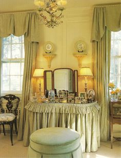 A talented local designer gave us a look into her master suite for my book 'Haven'.  She has a distinct English Country feel, in both fabrics and colors - celadon, cream, & green.  Photo (C) Nancy E. Hill
