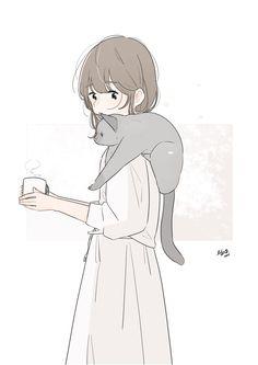 """百瀬たろう on Twitter: """"「湯気、気になるの?」… """" Kawaii Anime, Kawaii Art, Cat Wallpaper, Kawaii Wallpaper, Art And Illustration, Wow Art, Anime Art Girl, Aesthetic Anime, Storyboard"""