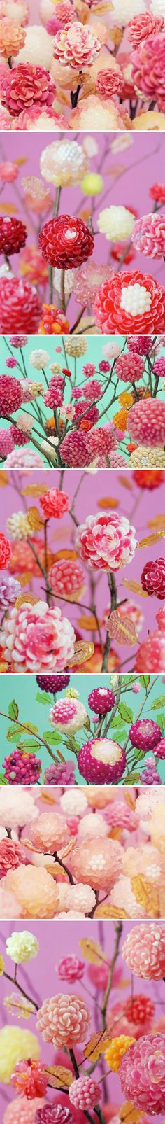 Still life photos of peonies... made from CANDY! by Koo Seong Youn