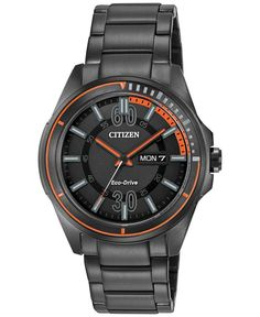 Citizen Men's Drive from Citizen Eco-Drive Black Ion-Plated Stainless Steel Bracelet Watch Cool Watches, Watches For Men, Wrist Watches, Men's Watches, Luxury Watches, Citizen Eco, Watch Sale, Stainless Steel Bracelet, Casio Watch