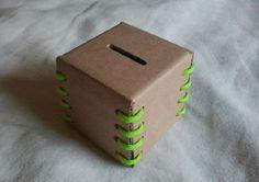 Picture of Cardboard Coin Bank Homemade Birthday Gifts, Savings Jar, Cardboard Crafts, Fun Crafts For Kids, Diy Box, Cool Diy, Diy Paper, Paper Crafts, Saving Money