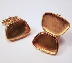 Vintage Austria Men's Locket Cufflinks Gold by GretelsTreasures