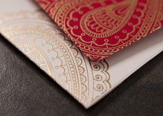Arabella Papers Custom Holiday Cards and Invitations - beautiful, rich Bellpress printed design with classic red, crimson, white and gold. Paisley damask pattern.