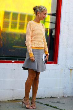 Neon crew neck sweater + grey flare skirt - Meredith Melling Burke