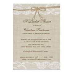 Romantic country lace and burlap bridal shower invitation with printed jute rope bow. Customize text for bridal shower, or any occasion.