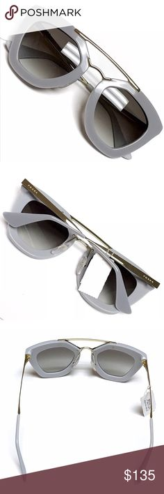 NWT - Authentic PRADA Sunglasses SPR09Q AUTHENTIC PRADA WOMEN'S SPR09Q CINEMA SUNGLASSES • Style: SPR09Q • Color: TV3-0A7 - Opal Grey Matte Grey with gold hardware • Size: Lens 49mm, Bridge 26mm, Temple 140mm • Grey Gradient Lens • Adjustable logo-ed nose pads • Gold arms with logos on the temples • Distinctive Cat Eye Aviator-Inspired Design • 100% UV Protection • BNWT - Never Worn - No Flaws • Sunglasses Only - No case included Prada Accessories Sunglasses
