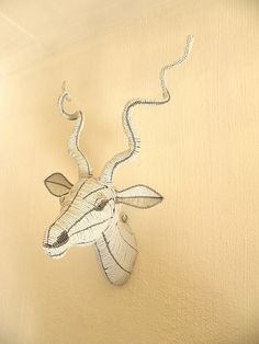 African Beaded Wire Animal Sculpture - KUDU ANTELOPE TROPHY Head - White