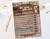 Rustic Bridal Shower Wedding Printable Game He Said She Said, Pink Flowers Bridal Shower,Lace, Baby's Breath, Floral, Digital File