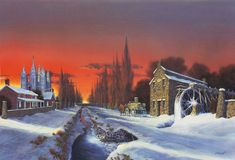 This painting is a view looking west down North Temple. Heber C. Kimball's home sits on the right. Heber had a mill that operated along City Creek. Utah Temples, Lds Temples, Mormon Temples, Watercolor Sunset, Church History, Salt Lake City, Old Houses, Fine Art, Lds Church