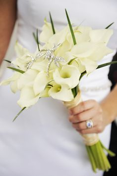 White calla lily bouquet with bling broach dragonflies