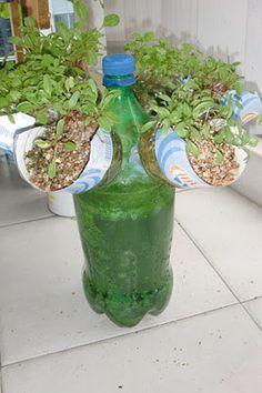 Self Watering Propeller Gardening recycling plastic bottles.