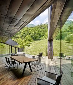 Broad window frames Alpine views from corrugated copper villa by Camillo Botticini Architetto Cadre Design, Architecture Résidentielle, Villas In Italy, Geothermal Energy, Outdoor Dining, Outdoor Decor, Wood Patio, Cabin Interiors, Window Frames