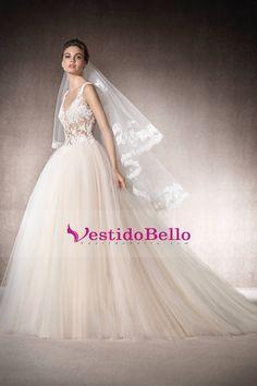 89720d8071 Comprar 2017 cuello en v con apliques de tul vestidos de novia una línea de  tren capilla x226712 Baratos Venta En Línea - VestidoBello.com
