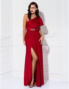 Formal Evening/Prom/Military Ball Dress - Burgundy Plus Sizes Sheath/Column One Shoulder Floor-length Jersey – USD $ 99.99