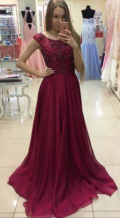 Beading Chiffon Prom Dress,Long Prom Dresses,Prom Dresses,Evening Dress,