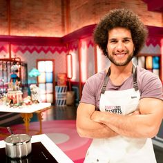 "Contestants on Season 2 of Zumbo's Just Desserts wear Cargo Crew ""Otto"" Aprons French Macaroon Recipes, French Macaroons, Gwyneth Paltrow, Bib Apron, Aprons, Zumbo's Just Desserts, Dessert Makers, Name Embroidery, Apron"