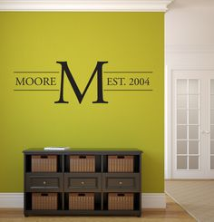 "Last Name Family Monogram Wall Vinyl Decal Graphic 58"" Wide Home Decor Family…"