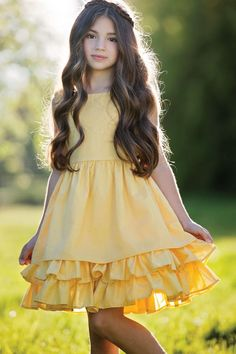 """""""Easter dress for girls from My Little Jules"""" Persnickety Clothing - Daffodils & Dandelions Adeline Dress in Yellow Frocks For Girls, Little Girl Dresses, Vintage Girls Dresses, Little Girl Fashion, Kids Fashion, Womens Fashion, Cute Summer Outfits, Kids Outfits, Girls Clothing Brands"""