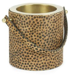 "9"" Leopard-Print Wine Cooler, Gold 